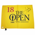 Jordan Spieth Signed Full Signature The OPEN at Royal Birkdale Flag JSA FULL #Z06989