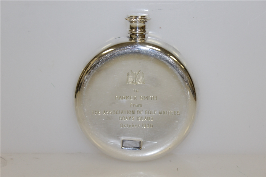 The Association of Golf Writers Whiskey Flask Trophy Gift - Engraved 1990