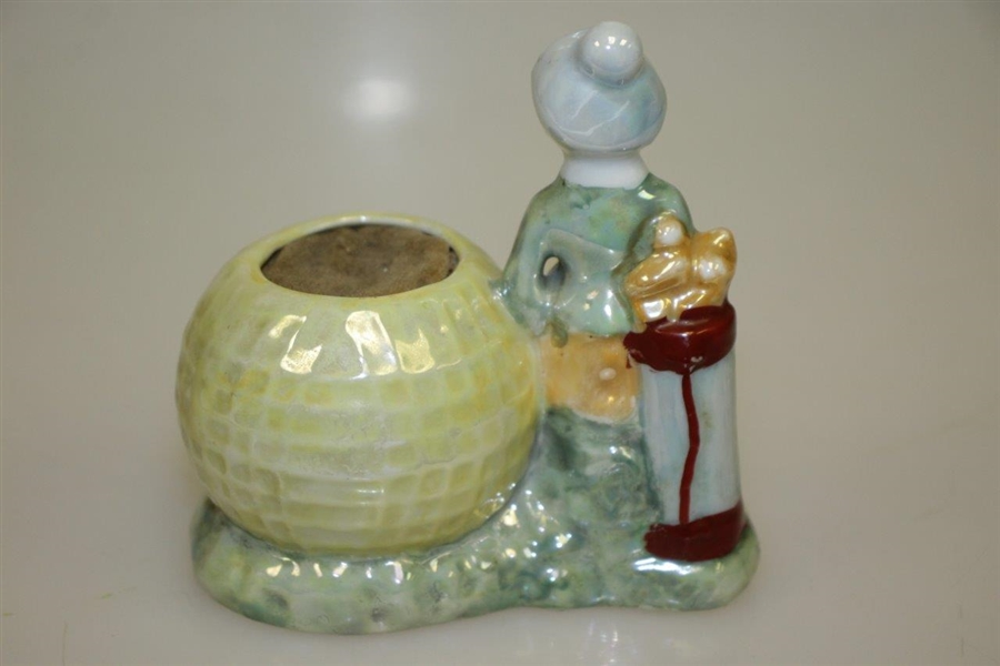 Porcelain Lady Golfer with Mesh Golf Ball Pin Cushion