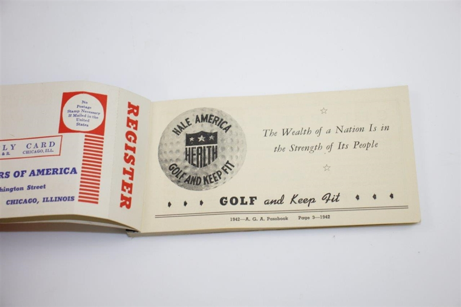 1942 Associated Golfers of America Membership Passbook - Chicago Courses Info - Seldom Seen
