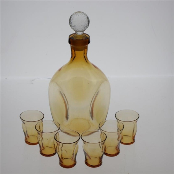 Pinch Style Scotch Decanter & Six Glasses with Mesh Golf Ball Stopper