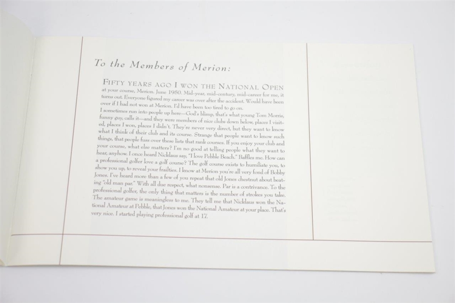 Merion Golf Club 2000 Booklet 'A Letter From Ben'