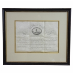 1784 Links of Leith Membership Diploma Company of Golfers Edinburgh Penned by James Balfour
