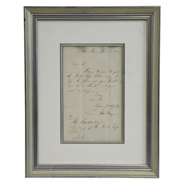 1824 One Page Letter to Secretary of Thistle Golf Club - Requesting Membership