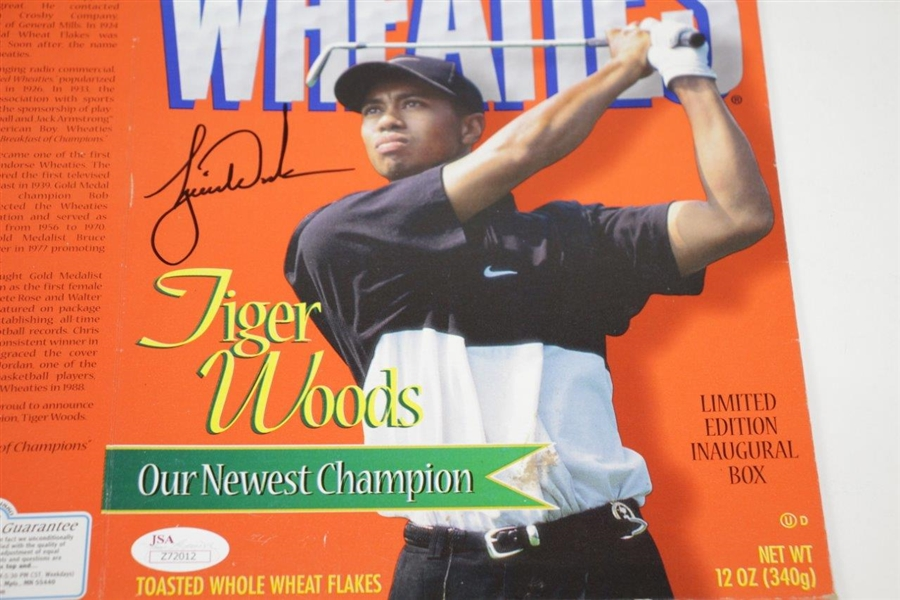 Tiger Woods Signed Wheaties 'Our Newest Champion' Ltd Ed Inaugural Box JSA FULL #Z72012