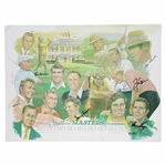 Hogan, Palmer, Snead, Nicklaus, Sarazen, Player, Burke, & Aaron Signed Great Masters Champs Matted Poster JSA ALOA