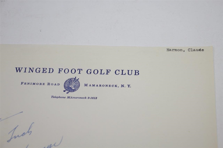 Claude Harmon Signed Winged Foot Golf Club Letterhead JSA FULL #BB29304 - TOP GRADE AUTOGRAPH