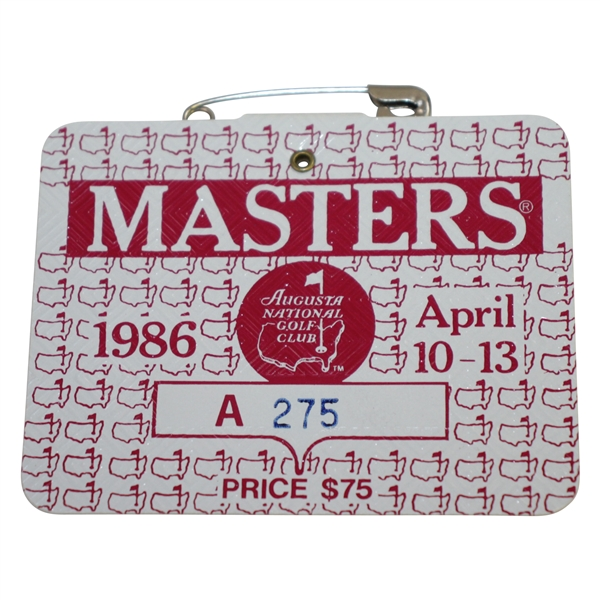 1986 Masters Tournament Series Badge #A275 - Jack Nicklaus 6th Green Jacket