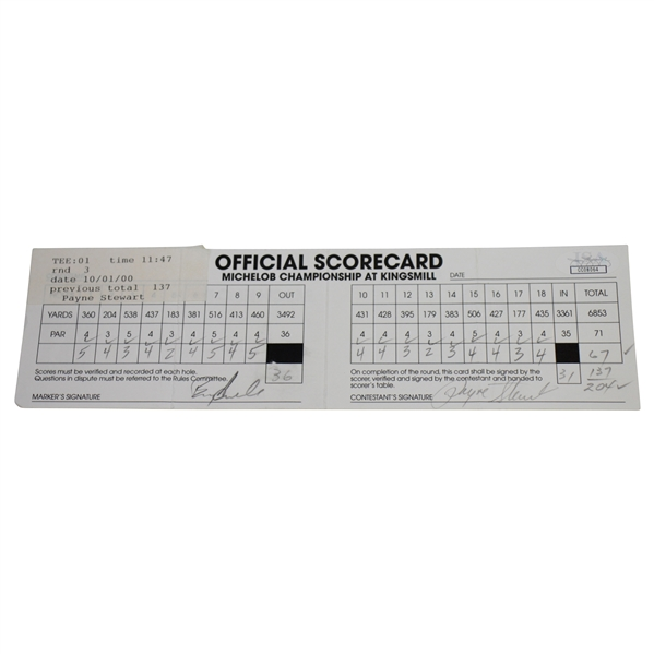 Payne Stewart Signed Official Used 1998 Michelob Championship 3rd Rd Scorecard JSA #CC08064