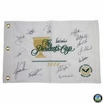 2000 The Presidents Cup Team Signed Embroidered Flag with Tiger, Phil, Venturi Captain, & others JSA ALOA