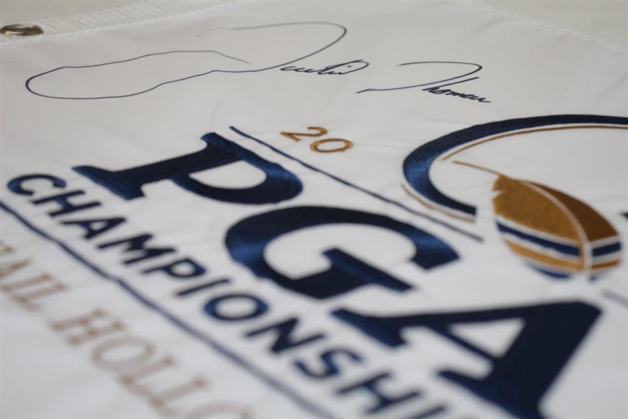 Justin Thomas Signed 2017 PGA Championship at Quail Hollow Flag - Huge Signature! JSA ALOA