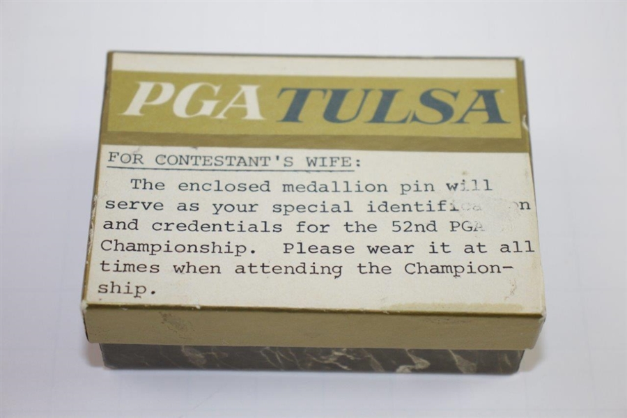 1970 PGA Championship at Southern Hills Tulsa Contestant's Wife Badge with Original Box
