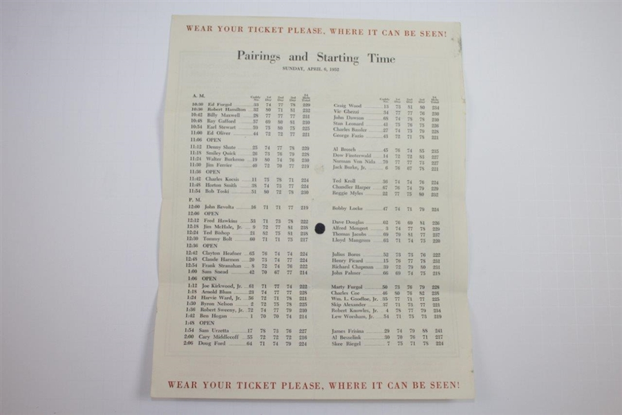 Complete Set of Four (4) 1952 Masters Tournament Pairing Sheets - Sam Sneed Winner