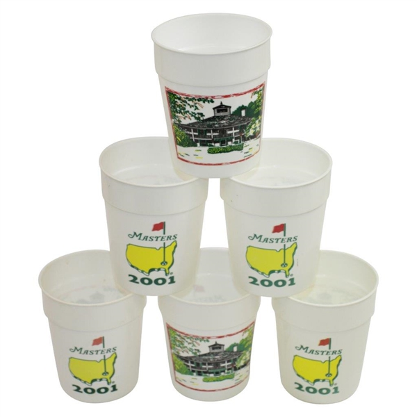 Six (6) 2001 Masters Tournament Plastic Commemorative Drinking Cups