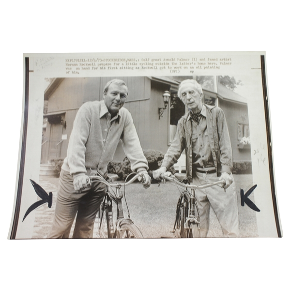 Arnold Palmer & Norman Rockwell 1973 Wire Photo - Riding Bikes 12/4/73