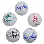 Ford, Player, Langer, Zoeller, & Crenshaw Signed Golf Balls JSA ALOA