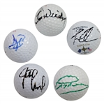 Greg Norman, Justin Leonard, David Duval, Tom Weiskopf, & Tom Lehman Signed Golf Balls JSA ALOA