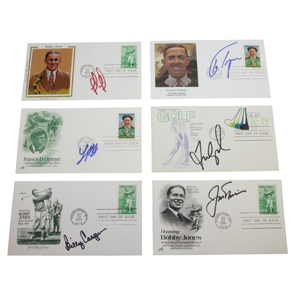 Six (6) Signed Cachets Signed by Nicklaus, Casper, Couples, & others JSA ALOA