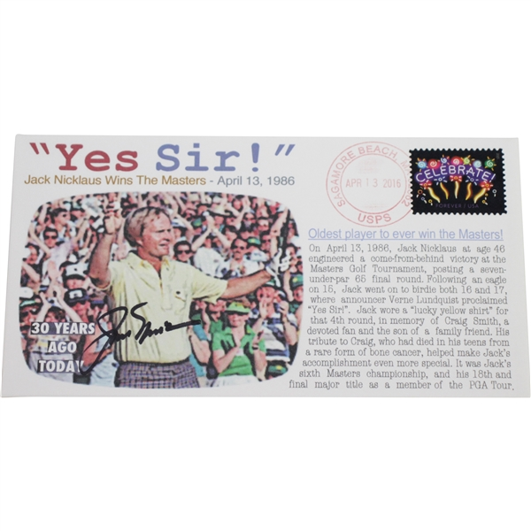 Jack Nicklaus Signed Yes Sir! Cachet Commemorating 1986 Masters Win JSA #U91996