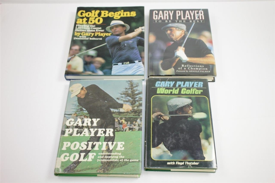 Four(4) Gary Player Signed Books 'Begins at 50', Positive Golf', To Be The Best', & 'World Golfer' JSA ALOA
