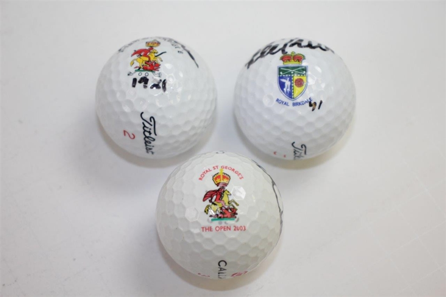 Trevino, Rogers, & Curtis OPEN Champs Signed on Course Won Logo Golf Balls JSA ALOA