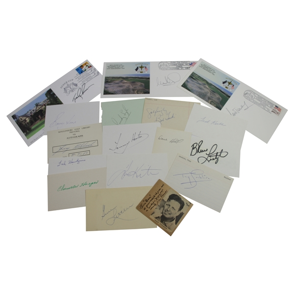 Seventeen 1940's-90's Ryder Cup Players Assorted Signed Cards/Items JSA ALOA