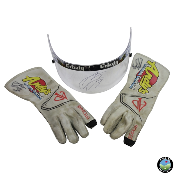 NASCAR Driver Austin Dillon Signed Personal Used Gloves and Shield Protector