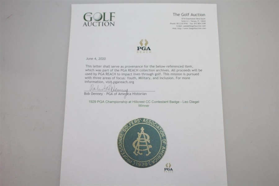 1929 PGA Championship at Hillcrest CC Contestant Badge - Leo Diegel Winner