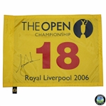 Tiger Woods Signed 2006 OPEN Championship at Royal Liverpool Flag JSA ALOA