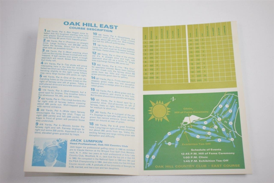 1965 Big Three Palmer, Nicklaus, & Player Exhibition at Oak Hill CC Program