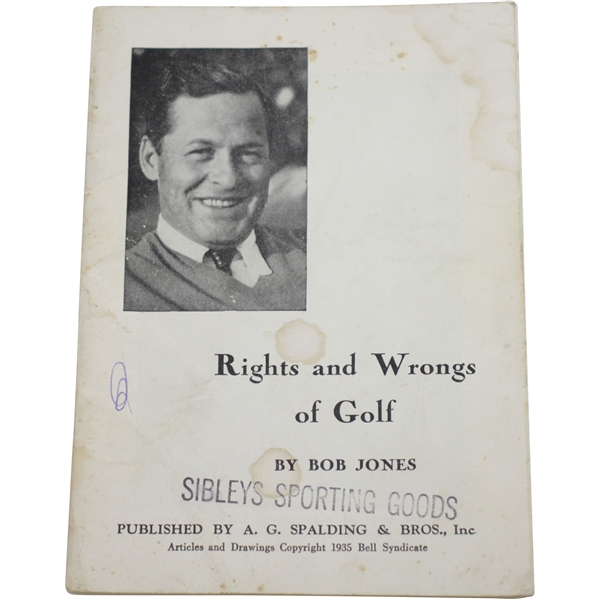 1935 Rights and Wrongs of Golf Booklet by Bobby Jones