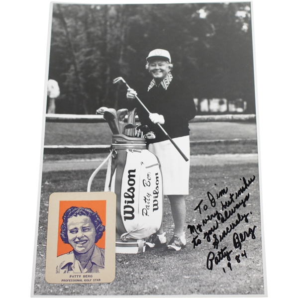 Patty Berg Signed Photo with Personalized Inscription & Attached Golf Card JSA ALOA
