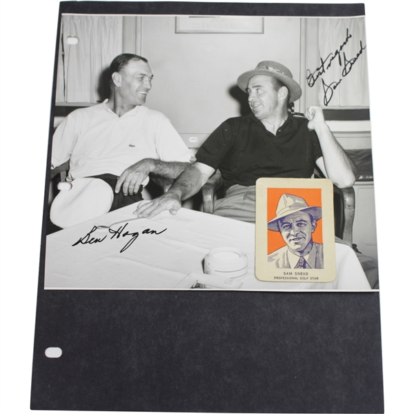 Ben Hogan & Sam Snead Dual Signed Photo with Attached Snead Golf Card JSA ALOA
