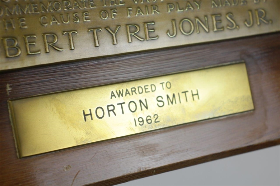 Horton Smith's 1962 United States Golf Association Presented - The Bob Jones Award Plaque