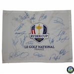 2018 Ryder Cup at Le Golf National European Team Signed Embroidered Flag JSA ALOA