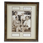 Bobby Jones, Demaret, Hogan, & Nelson Signed Cuts with Surrounding 1940s Sepia Photo of Group