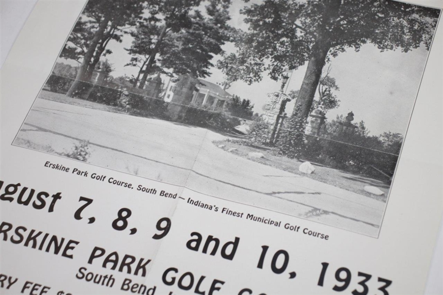 1933 Indiana Junior Golf Championship at Erskine Park Golf Club Bulletin Poster