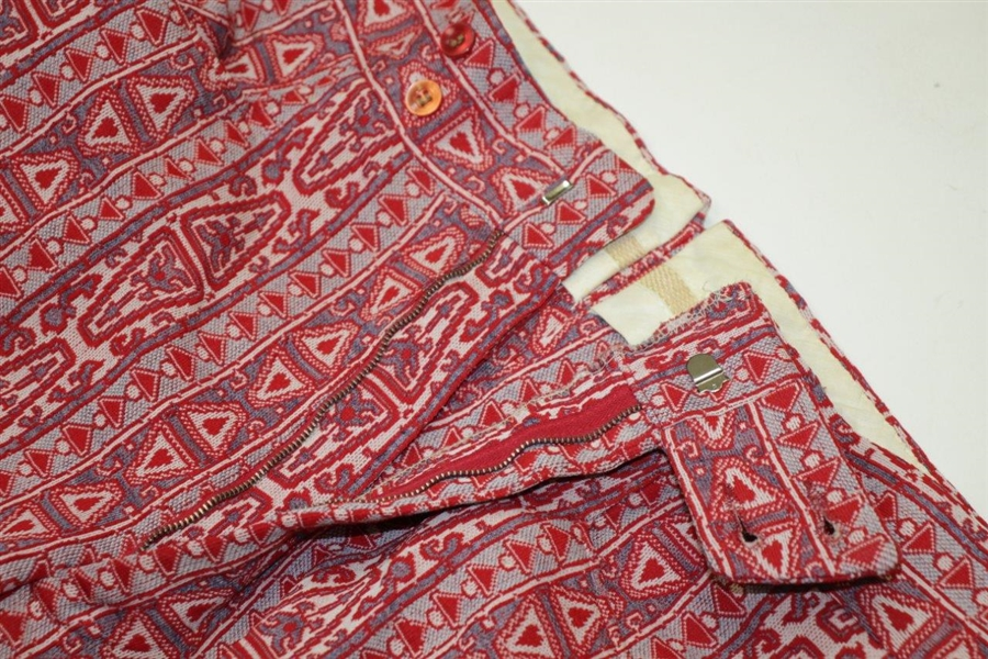 Paul Hahn's Personal Worn Di Fini Double Knit Polyester Men's Red Geometric Pattern Golf Pants