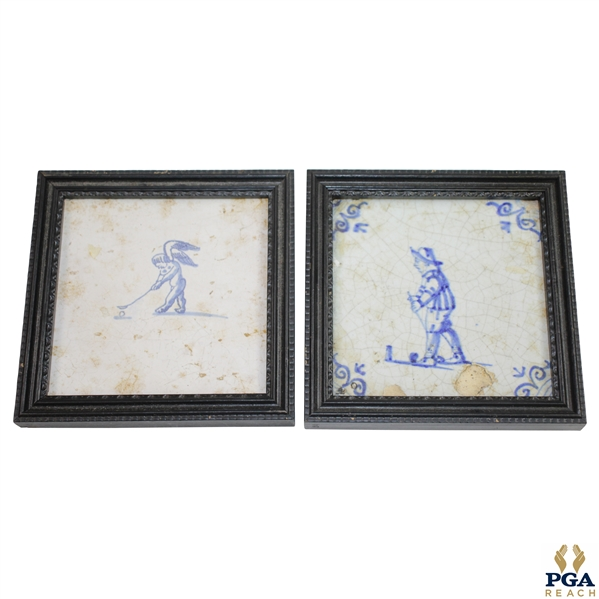 Two Delft Golf Decorated Porcelain Tiles with Black Frames