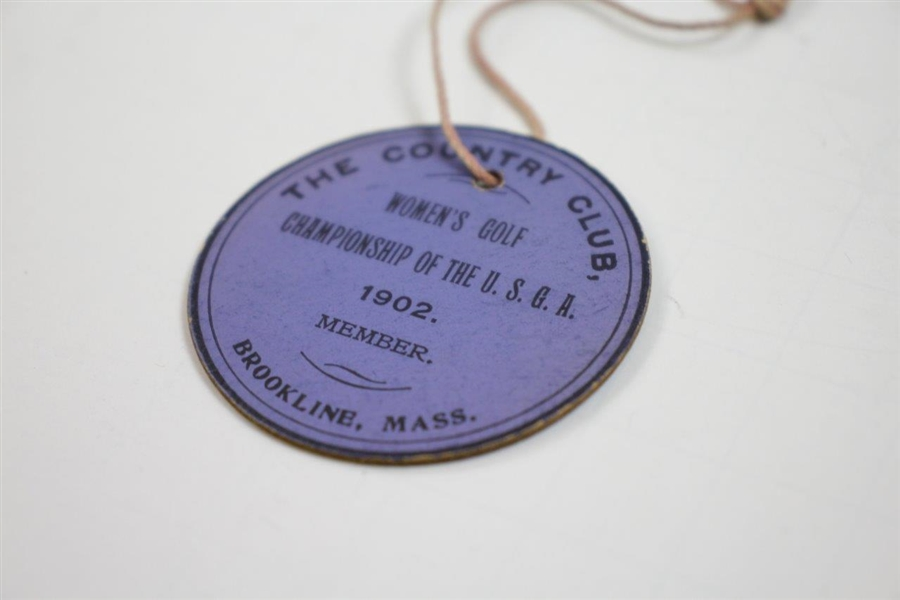 1902 Women's US Amateur Championship at Brookline Member Badge - Only One Known!