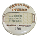 1986 Masters Tournament Working Press Badge #190 - Pittsburgh Press
