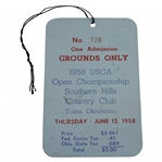 1958 US Open at Southern Hills CC Thursday Ticket #728 - Tommy Bolt Winner