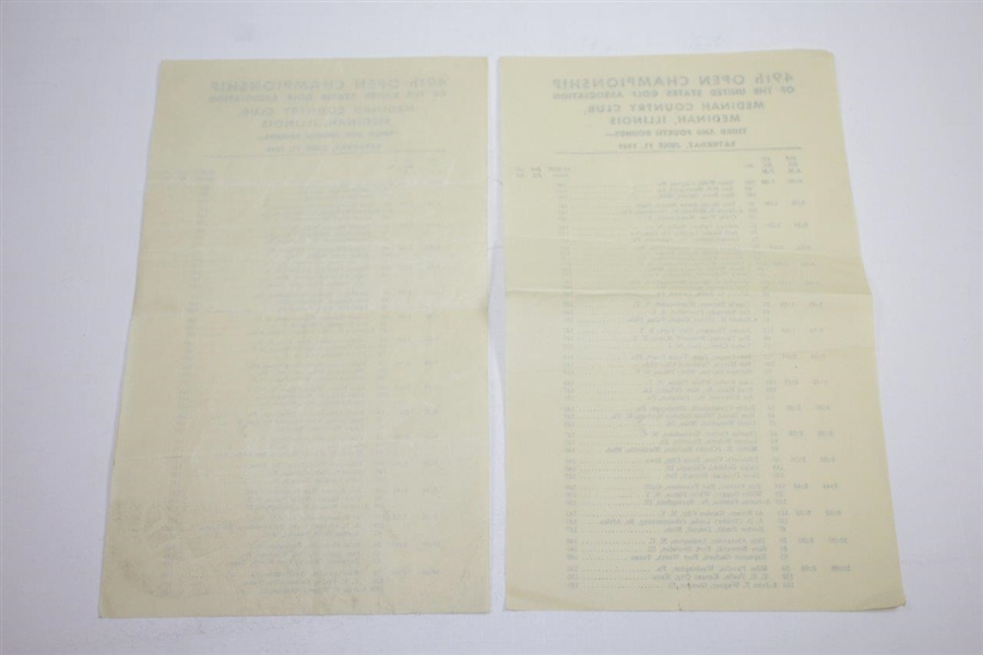 1949 US Open at Medinah Country Club Pairing Sheets, Parking, Scorecards, & Correspondence