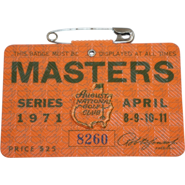1971 Masters Tournament Series Badge #8260 - Charles Coody Winner