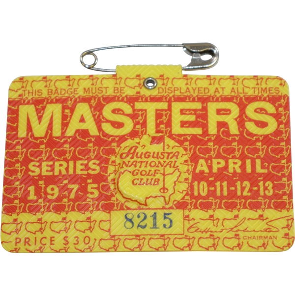 1975 Masters Tournament Series Badge #8215 - Jack Nicklaus Winner