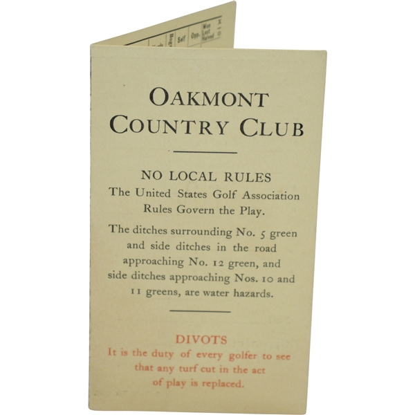 1908 Oakmont Country Club Official Scorecard with Stymie Gauge