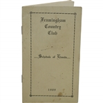 1909 Framingham Country Club Schedule of Events Booklet
