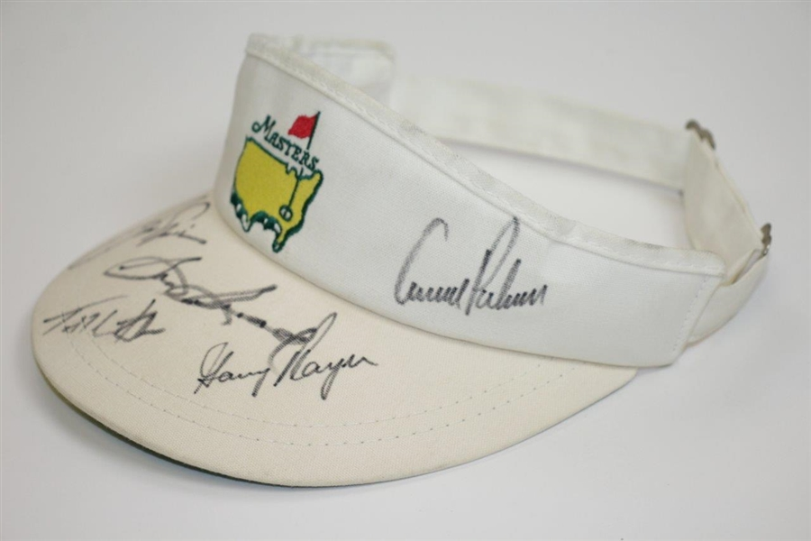 Woods, Palmer, Nicklaus, Player, Snead, & Watson Signed Masters Visor JSA ALOA