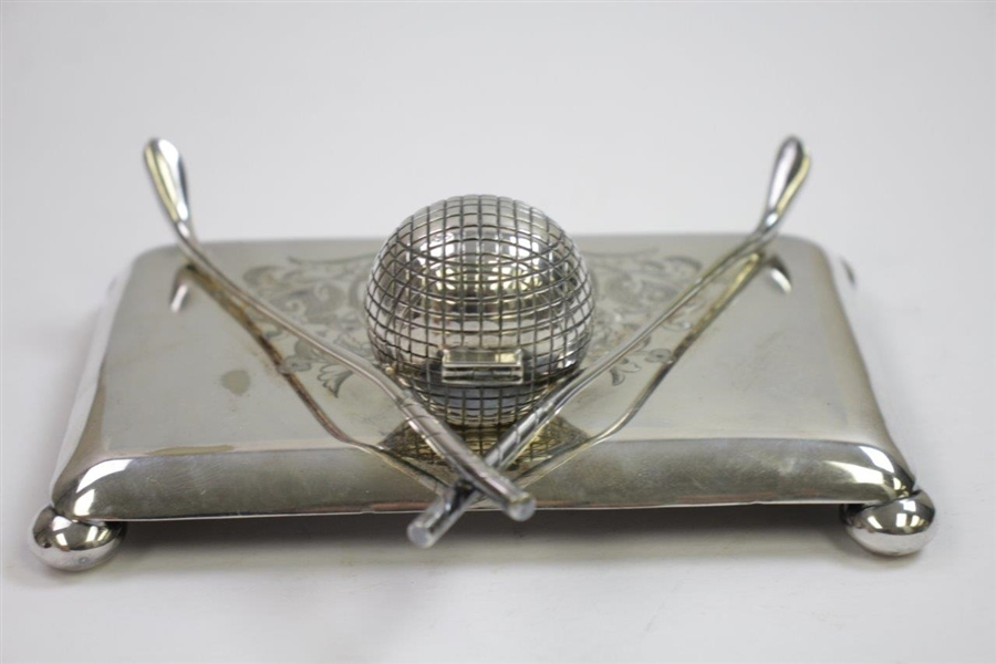 Vintage Ornate Crossed Clubs with Golf Ball Inkwell