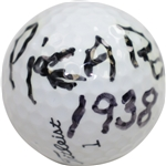 Henry H.G. Picard Signed Titleist Logo Golf Ball with 1938 Masters Win Notation JSA FULL #BB65218